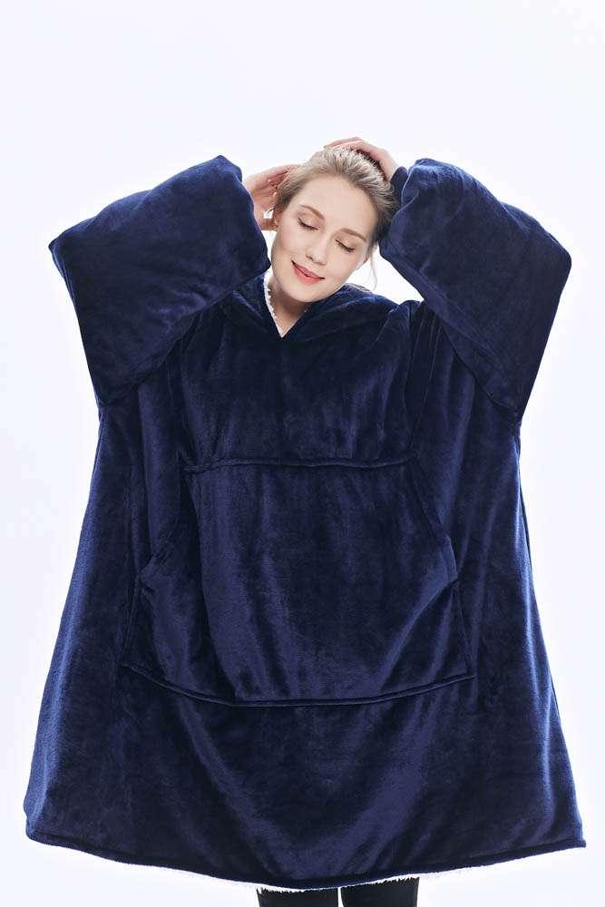 Panda hug blue navy hanorac pufos bleumarin